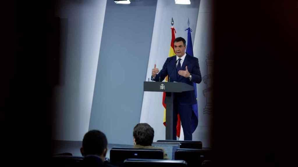 El presidente del Gobierno, Pedro Sánchez, este martes en rueda de prensa tras la reunión del Consejo de Ministros. Efe