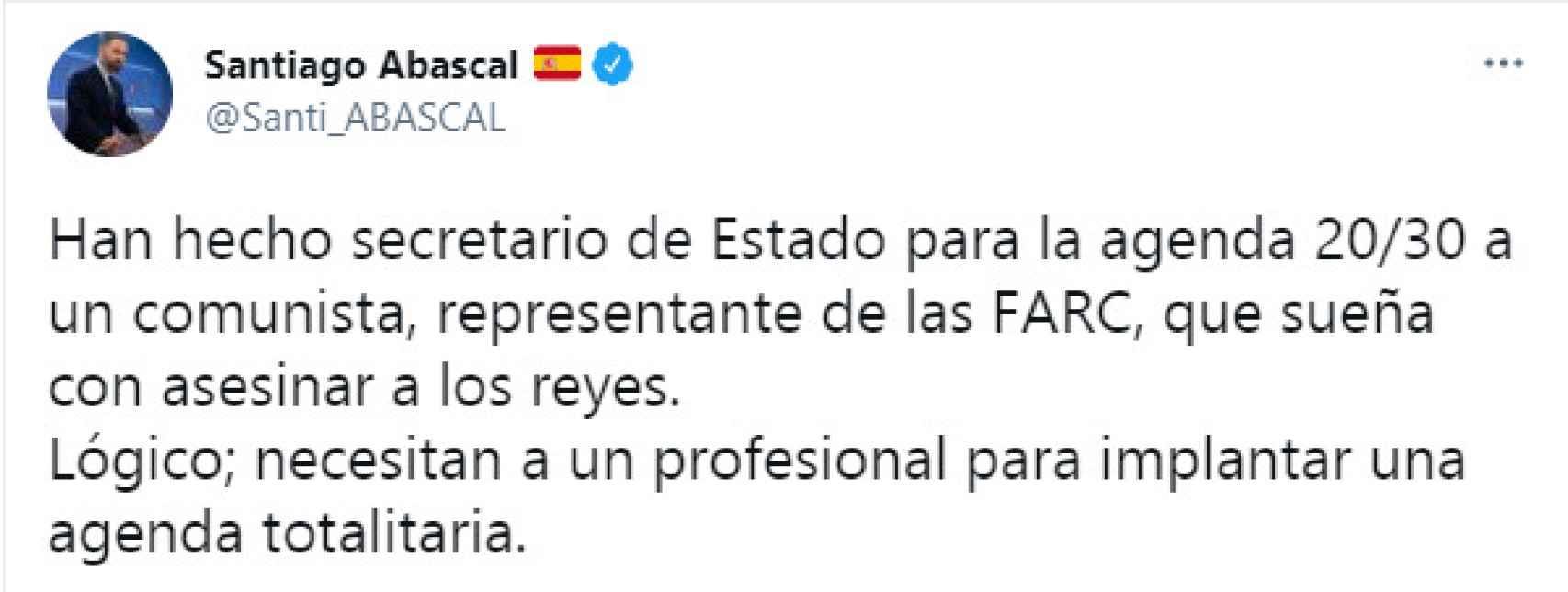 Santiago Abascal sobre el nombramiento de Enrique Santiago como secretario de Estado.