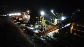 Imagen de las obras de renovación de la ruta ferroviaria entre Badajoz y Ciudad Real.