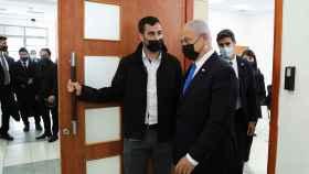 Netanyahu, saliendo del tribunal este lunes.