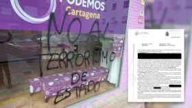 Pintadas realizadas en la sede de Podemos en Cartagena.