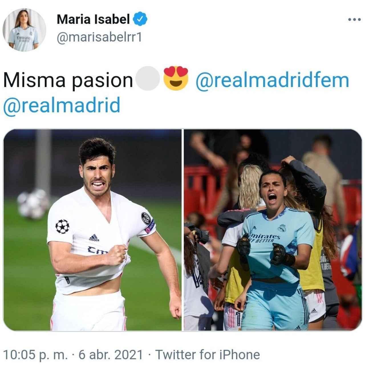 El tuit de Misa Rodríguez en la noche de la victoria del Real Madrid sobre el Liverpool
