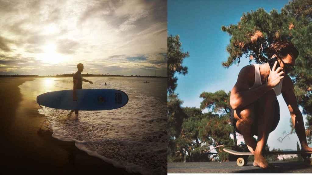 El actor practicando dos de los deportes que le apasionan: surf y montar en monopatín.