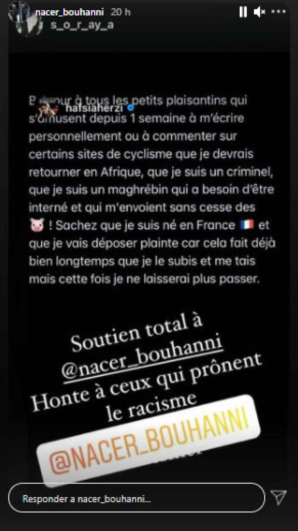 Los comentarios racistas contra Nacer Bouhanni que reflejó en su cuenta de Instagram