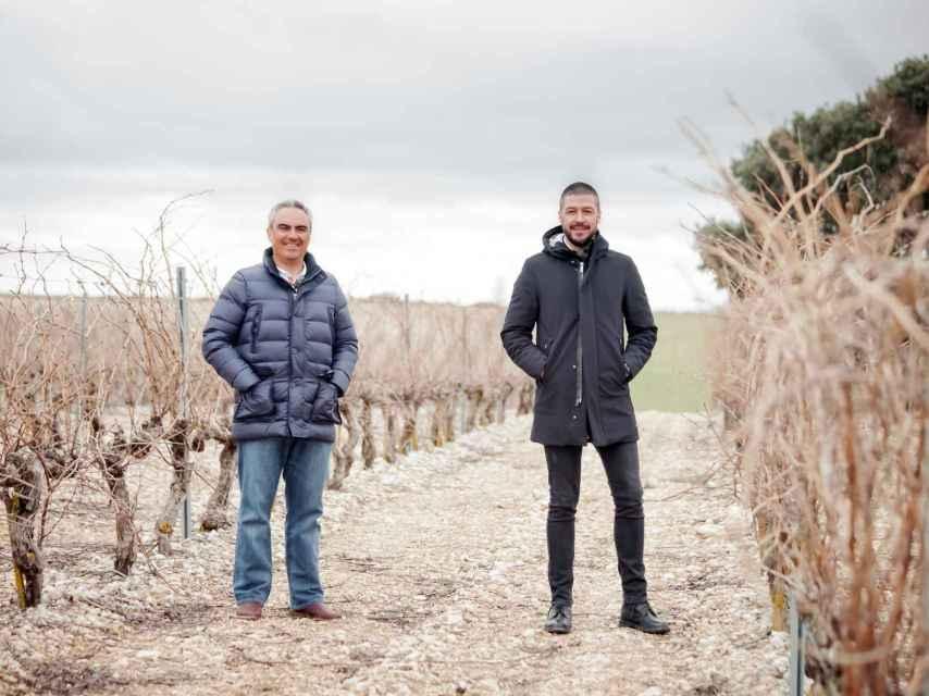 Hugo del Pozzo y Vicente Pliego en el viñedo de Pinea.