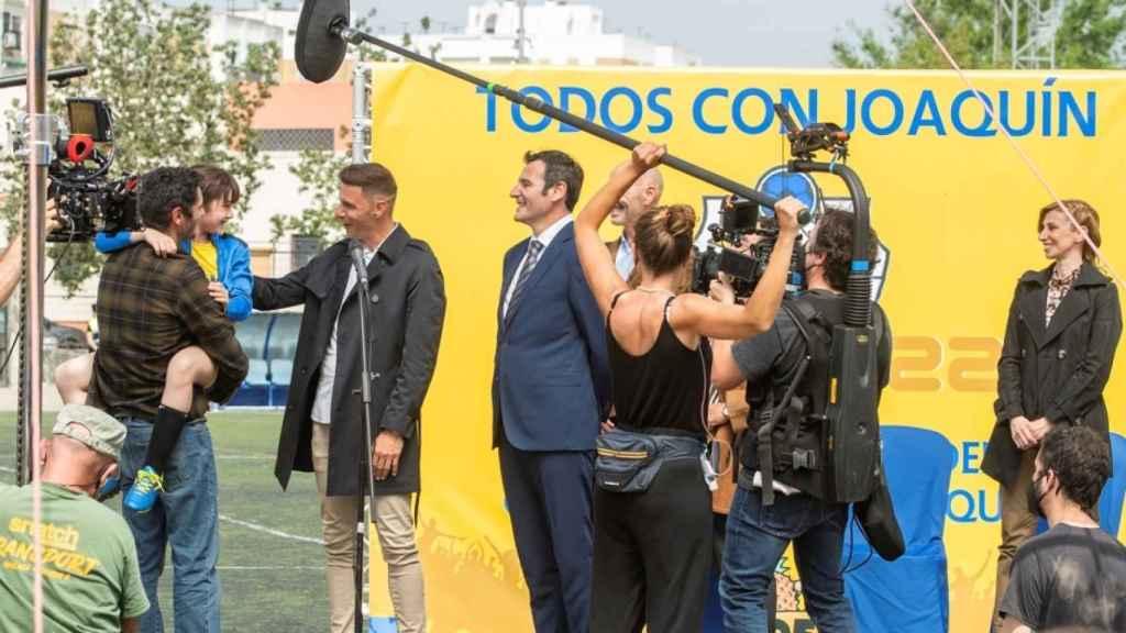 Joaquín, durante el rodaje de una escena de la película 'Heroes de barrio'
