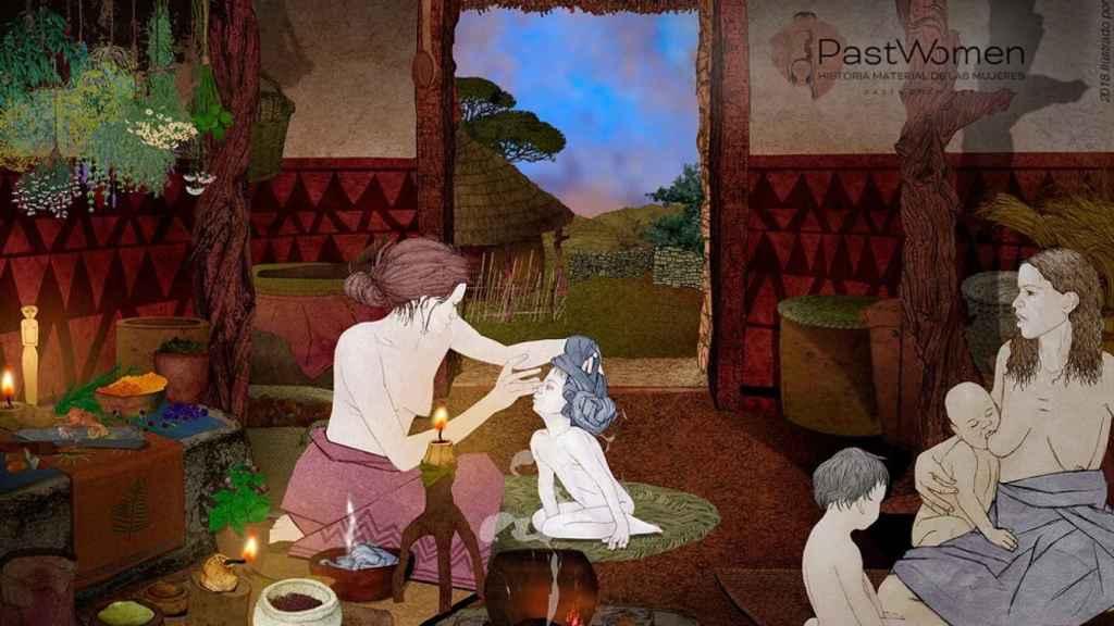 Una escena del cuidado de la infancia en la Edad del Cobre.
