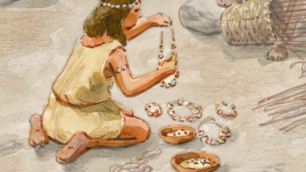 Imagen de una mujer trabajando en el Neolítico Pleno.