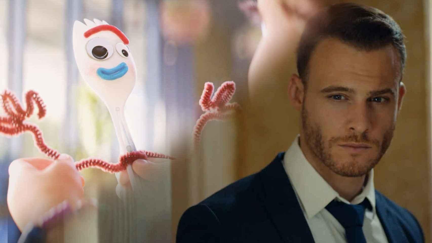 Forky de 'Toy Story 4' y Serkan de 'Love is in the air' en montaje de BLUPER.