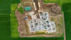 Fotografía aérea de las excavaciones.