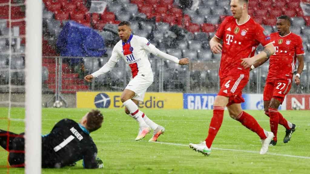 Gol de Kylian Mbappé ante Manuel Neuer, en el Bayern Múnich - PSG de la Champions League