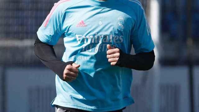 Nacho Fernández, durante un entrenamiento del Real Madrid