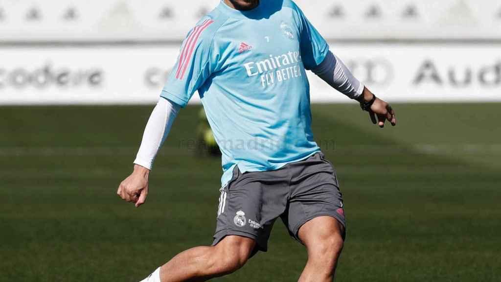 Eden Hazard, durante un entrenamiento del Real Madrid