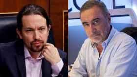 Pablo Iglesias y Carlos Herrera en un montaje.