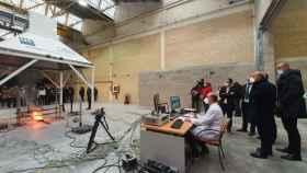 Nuevas instalaciones del laboratorio del fuego durante una de las demostraciones.