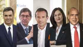 De izda. a dcha. Pedro Sánchez, José Ignacio Goirigolzarri, Jean-François Fallacher, Cani Fernández y Ángel Gurría.