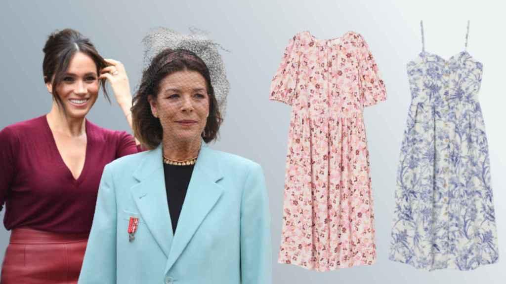 Meghan Markle y Carolina de Mónaco, junto a los diseños de H&M, en un montaje de JALEOS.