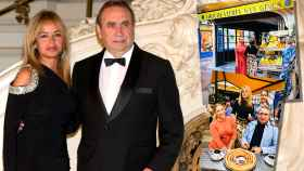 Pedro Trapote y su mujer en montaje de JALEOS durante la presentación de su nuevo local en Marbella.