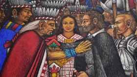 Mural que representa la unión entre tlaxcalteca y españoles.