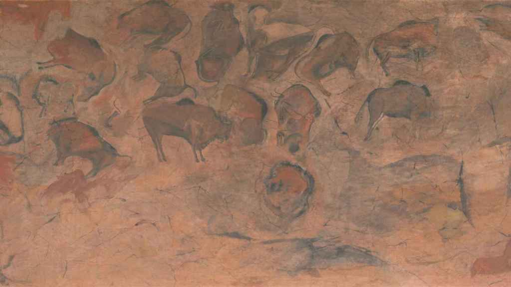 Copia de una parte del techo de la cueva de Altamira realizada en torno a 1880 por el francés Paul Ratier.