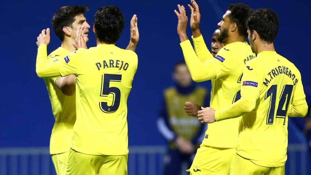 El Villarreal celebra su gol ante el Dinamo Zagreb