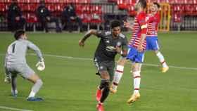 Rashford celebra su gol con el Manchester United