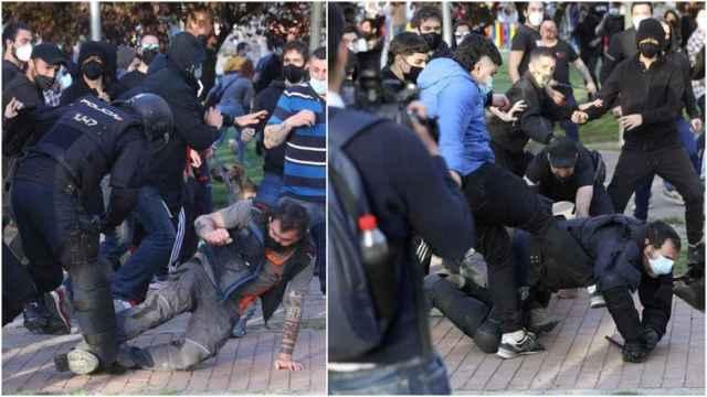 La secuencia en la que los radicales tumban y patean a un agente de la policía.