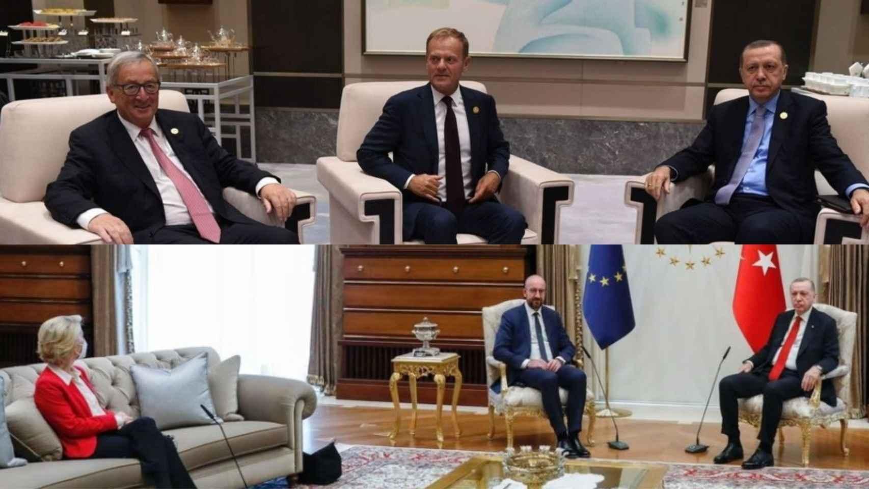 Los dos representantes masculinos de la Unión Europea en visita a Turquía y abajo la foto con Von der Leyen.