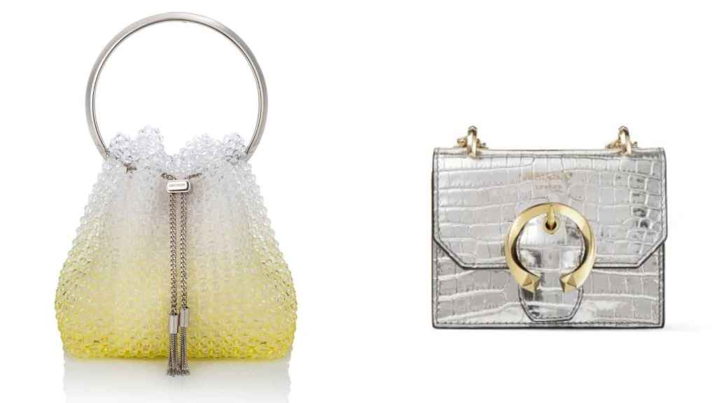 On the left, the evening bag 'Bon, Bon' and, on the right, the silver 'Mini Paris'.