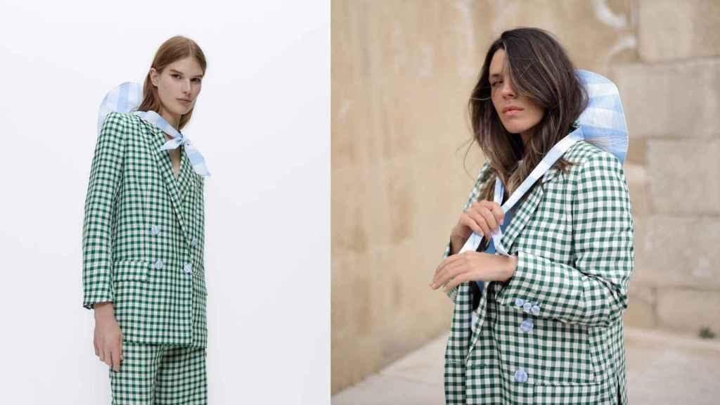 Laura Matamoros se inspira en el 'outfit' de la modelo de la firma para crear su último 'look'.