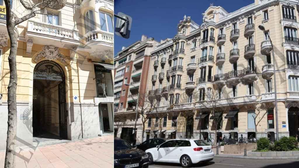 Dos imágenes de la fachada del edificio donde vivirán Luis y Helen junto a sus hijas.