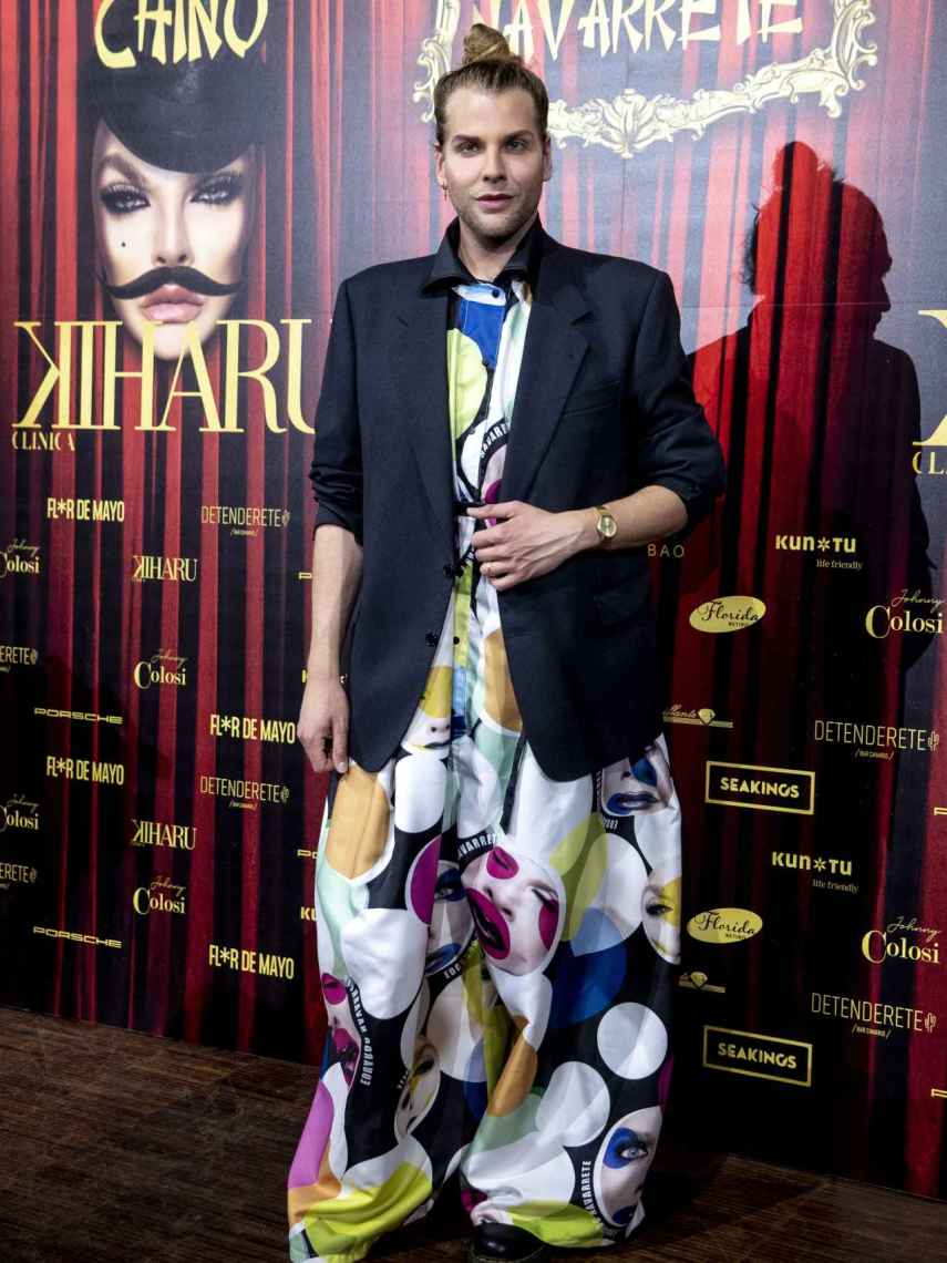 The designer Eduardo Navarrete posing at the 'photocall' before presenting his new collection.