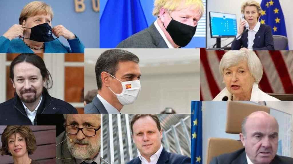 Angela Merkel, Boris Johnson, Ursula Von der Leyen, Pablo Iglesias, Pedro Sánchez, Janet Yellen, Rocío Güemes, Luis Cueto, Daniel Lacalle y Luis de Guindos.