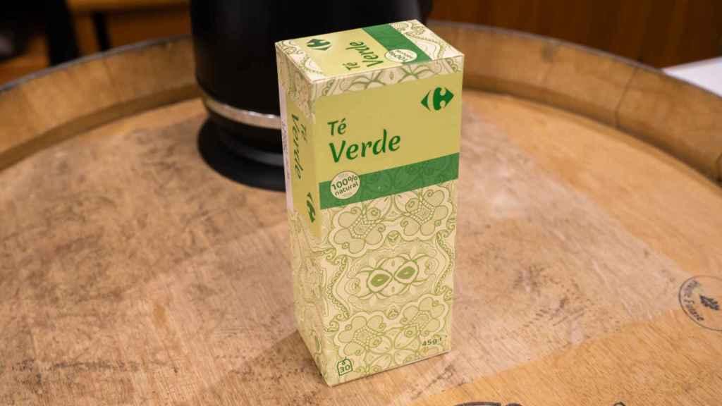 La caja de té verde de Carrefour.