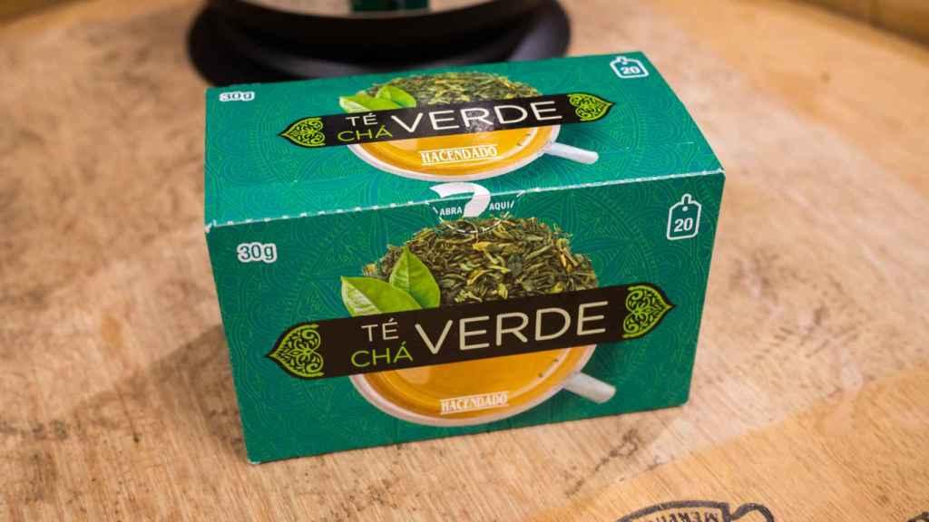 La caja de té verde de Hacendado, la marca blanca de Mercadona.