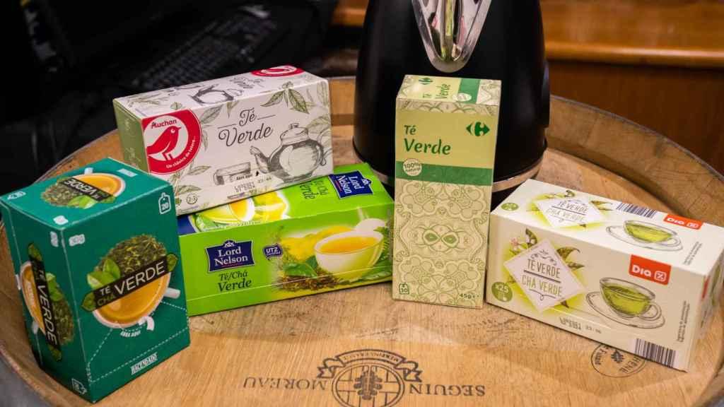 Los cinco tés verdes de los supermercados testados en la cata.