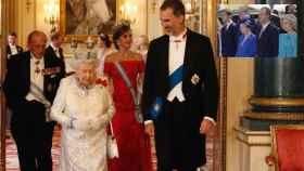 Felipe de Edimburgo y la reina Isabel II junto a los actuales reyes de España, en 2017, en montaje de JALEOS con los eméritos, Juan Carlos y Sofía.