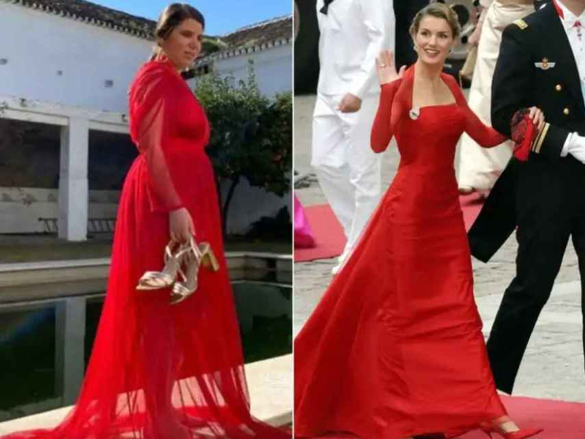 Carla Vigo vestida por 21 Ship & Compan y la reina Letizia vestida por Lorenzo Caprile.