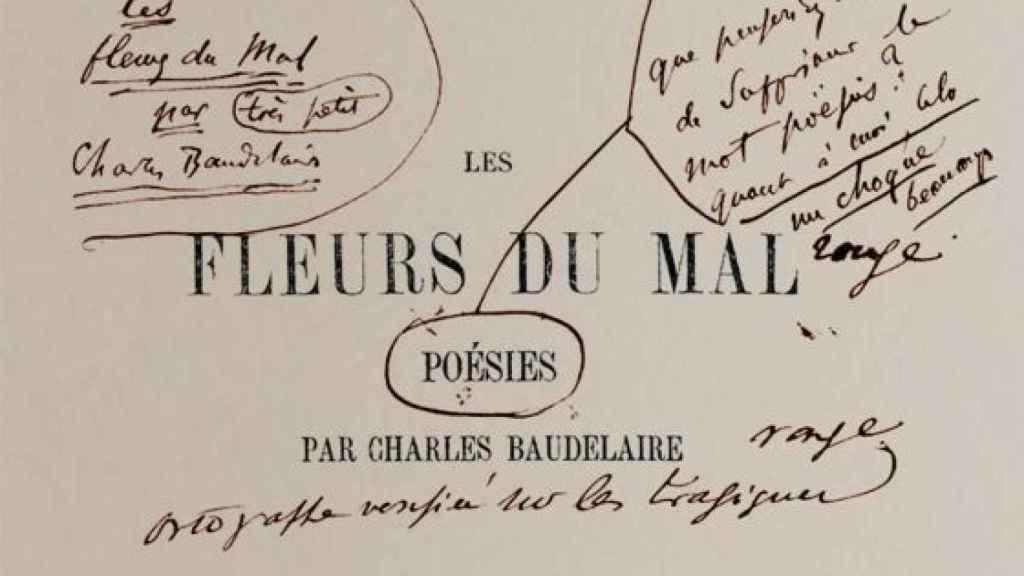 Primera edición de Las flores del mal, por Baudelaire.