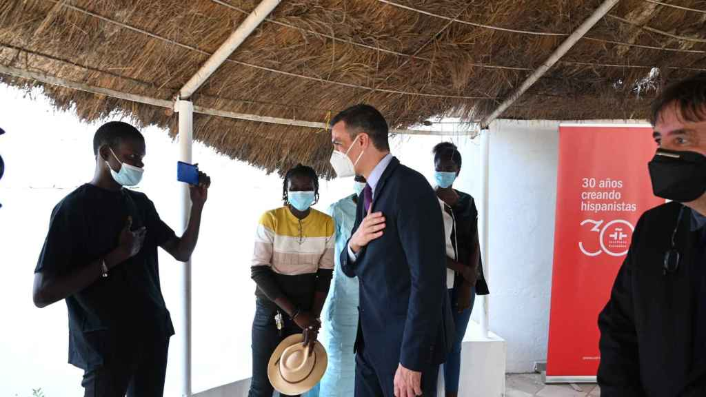 Pedro Sánchez, en la inauguración del Instituto Cervantes de Dakar, el primero del África subsahariana.