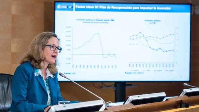 La vicepresidenta económica, Nadia Calviño, durante la presentación del nuevo cuadro macroeconómico.