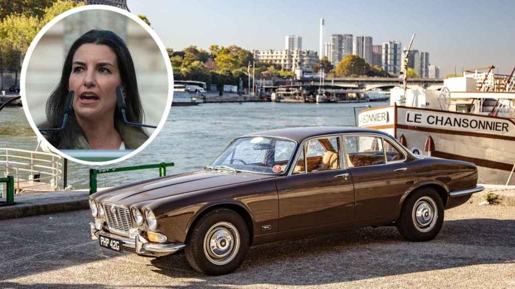 Fotomontaje con un Jaguar XJ clásico similar al clásico de Rocío Monasterio.