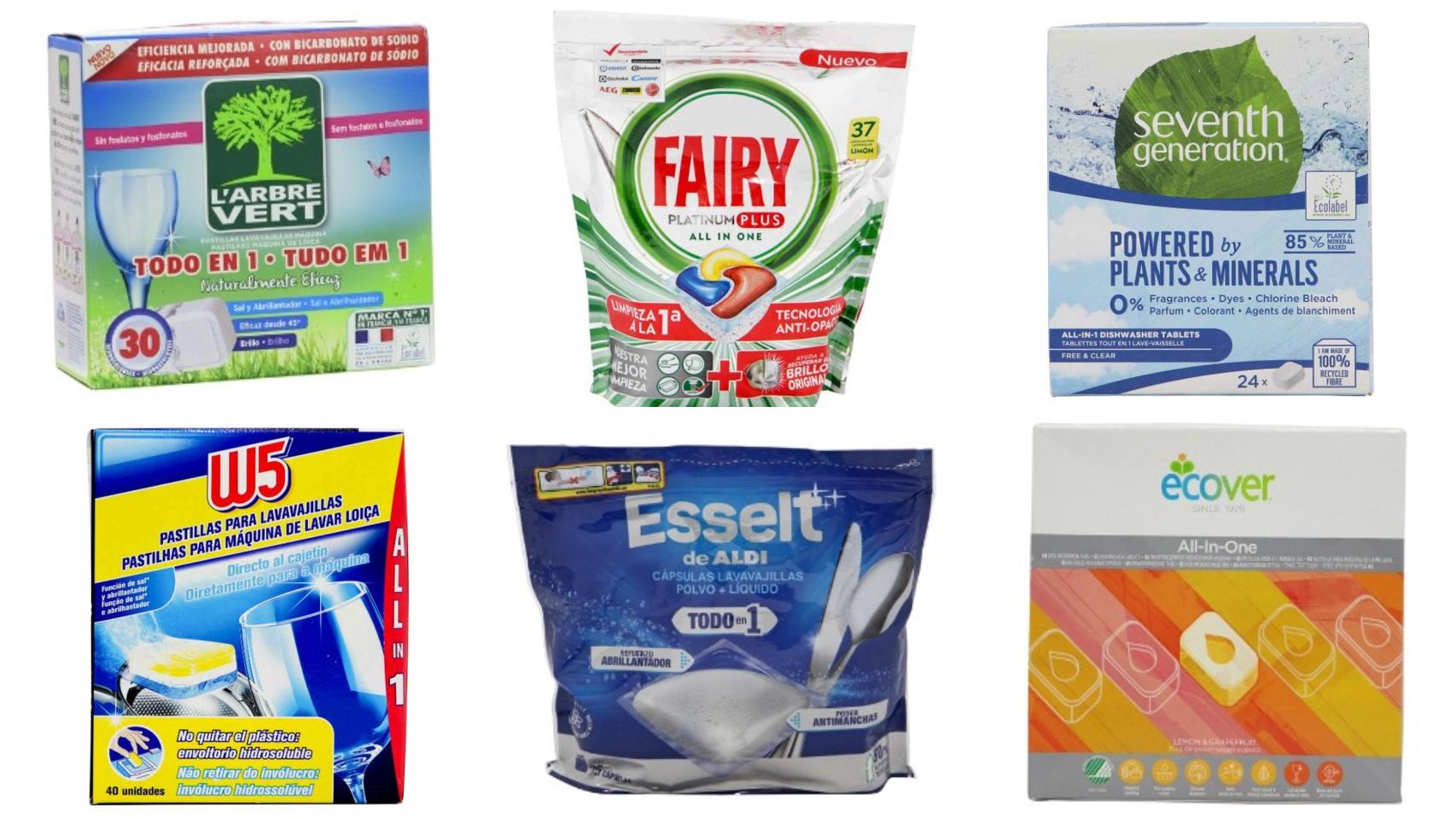 Seis de los 12 mejores detergentes en pastilla para lavavajillas, según la OCU.