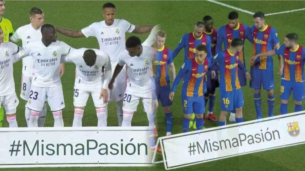 Los jugadores del Real Madrid y el FC Barcelona posan con el lema #MismaPasión