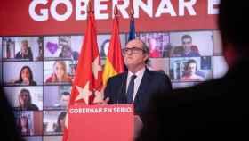 El candidato del PSOE a la Presidencia de la Comunidad de Madrid, Ángel Gabilondo,  en un acto en la sede del PSOE.