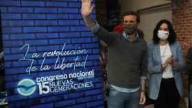Pablo Casado e Isabel Díaz Ayuso, en el Congreso de NNGG del PP, en Madrid.