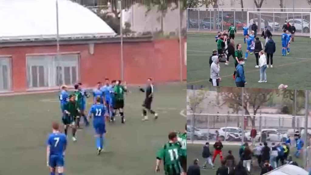 Imágenes de la pelea que se dio en la Tercera División catalana entre el Bon Pastor y el UD Carmelo
