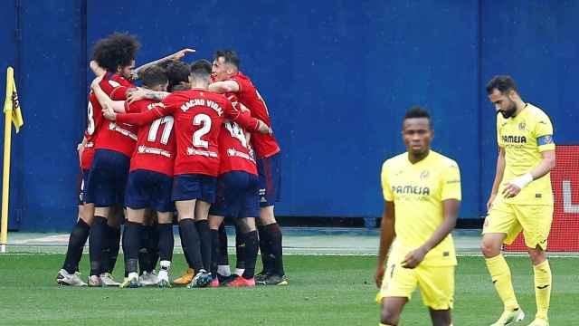 Los jugadores de Osasuna celebran uno de los goles ante el Villarreal