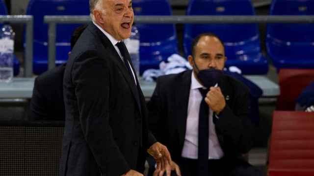 Pablo Laso dando indicaciones en el banquillo del Real Madrid