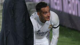 Lucas Vázquez, justo en el momento de su lesión en El Clásico